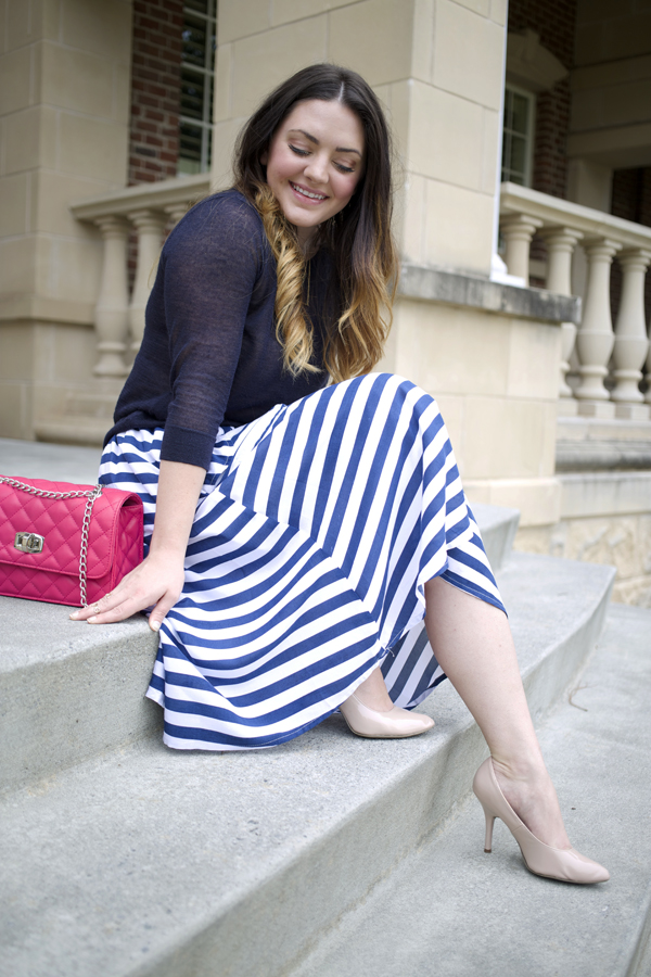 Striped Midi Skirt - Skirts