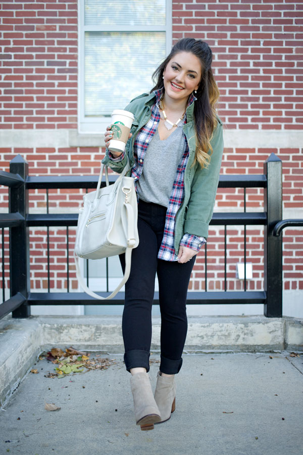Mae Amor - Fall Layers: SPANX denim, Jeffrey Campbell booties, army jacket, plaid, flannel, BaubleBar geode necklace