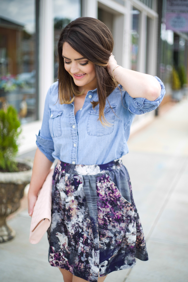 denim shirt skater skirt mae