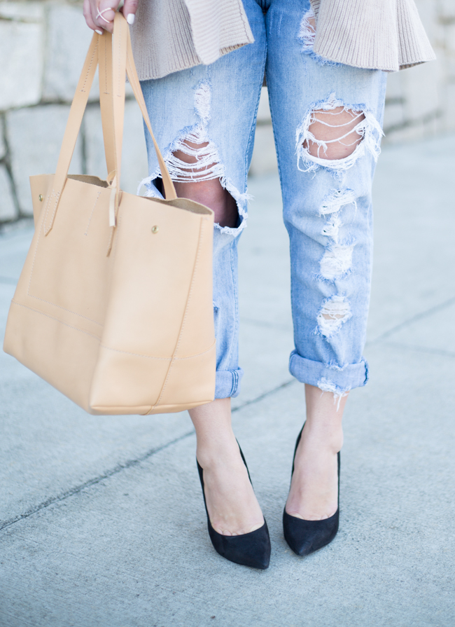 Ripped Boyfriend Jeans + Cable Knit Cardigan - via @maeamor