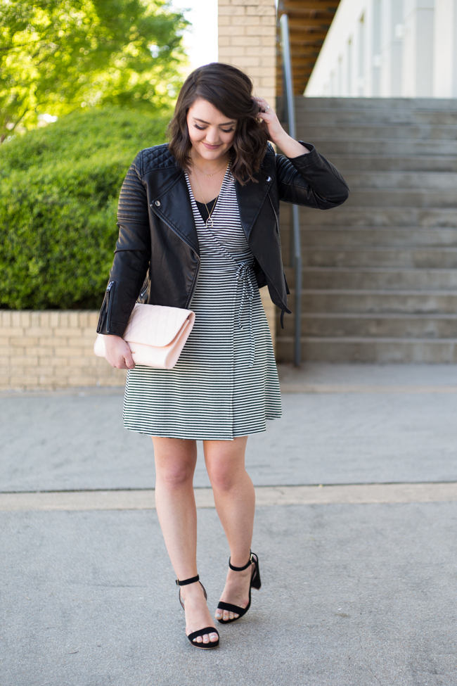 Girls night out striped wrap dress and quilted faux leather jacket - via @maeamor @Topshop