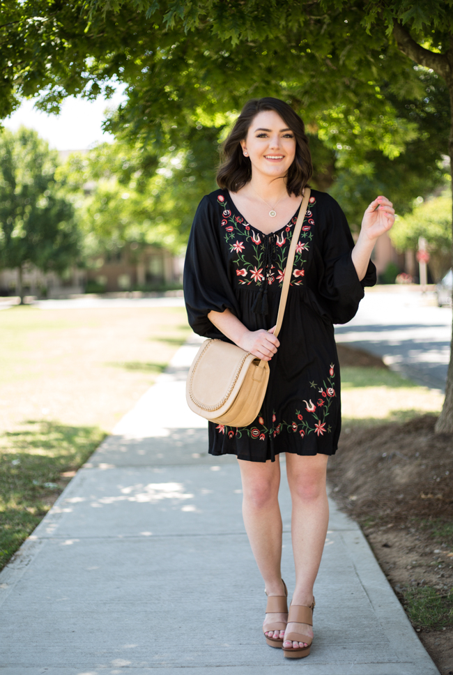 Floral Embroidered Smock Dress via @maeamor