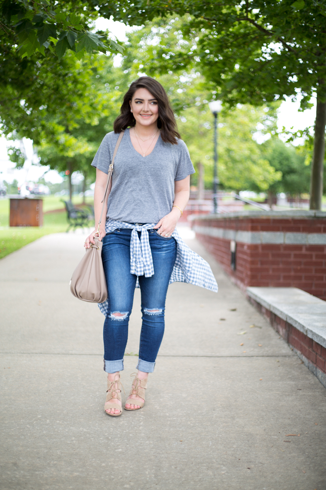 How to Wear a Shirt Tied Around Your Waist - via @maeamor gingham shirt, v-neck tee, AG Jeans, Sole Society, Asos, Forever21