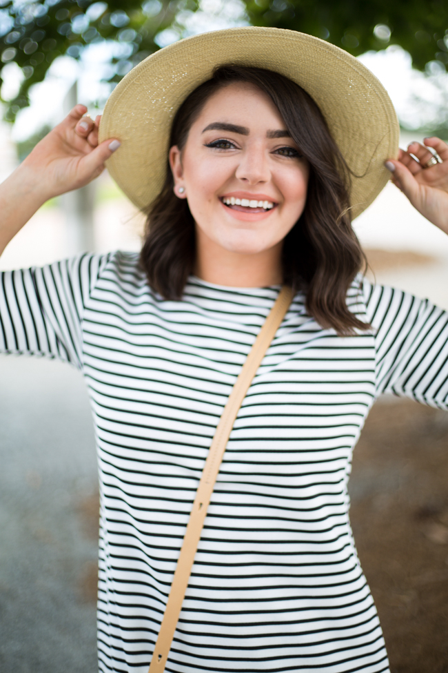 Petite Stripe Shift Dress - via @maeamor