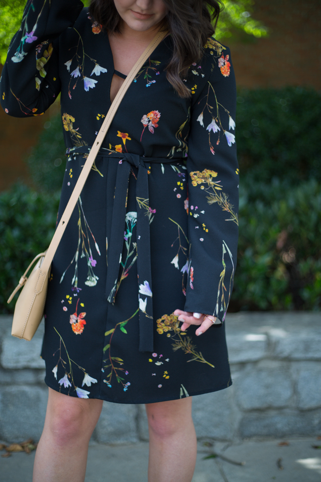 Topshop T-Bar Floral Dress with Bell Sleeves via @maeamor