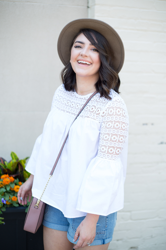 White Boho Blouse with Crochet and Bell Sleeves via @maeamor