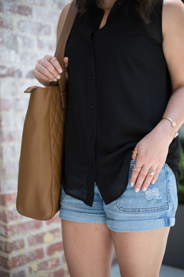 Black Sleeveless Blouse, Denim Shorts, + Leopard Flatforms - via @maeamor