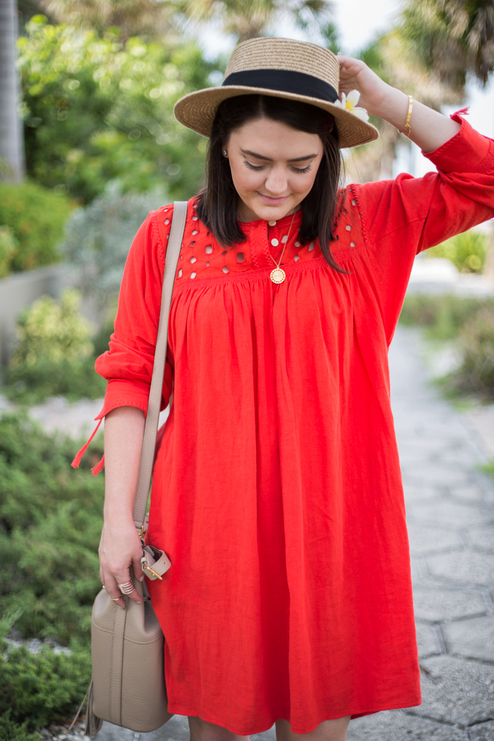Madewell Red Eyelet Dress - via @maeamor
