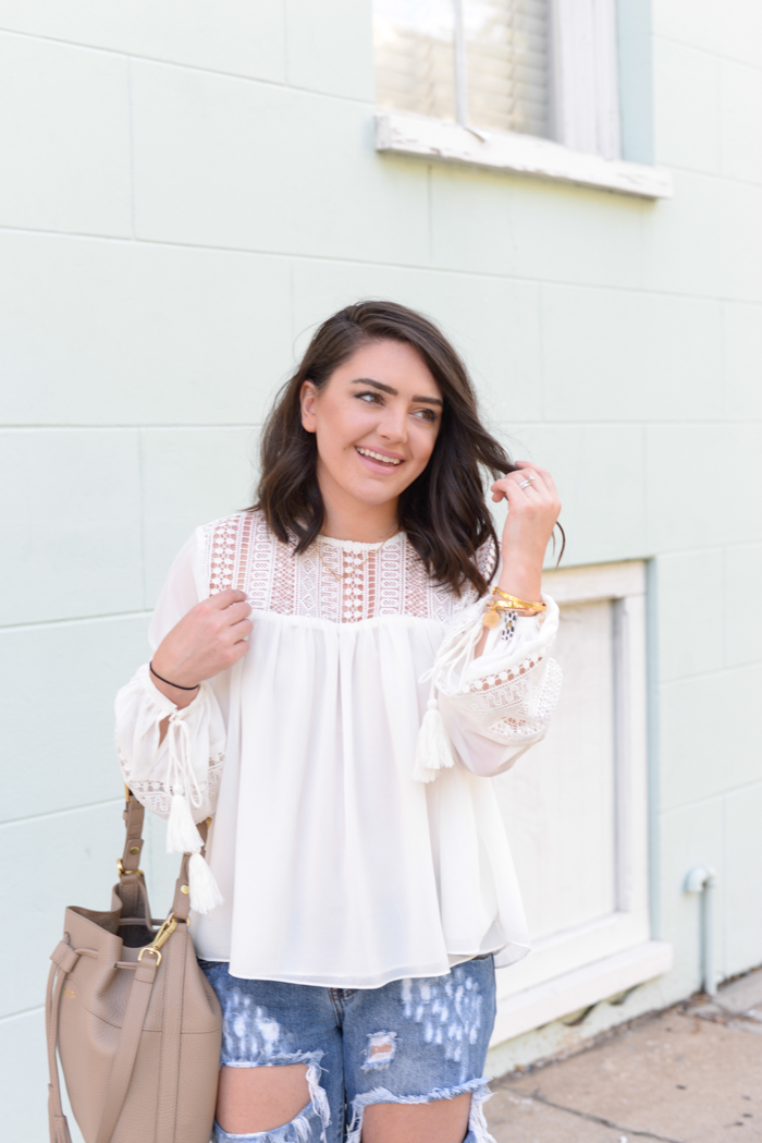 One Teaspoon Freebird Jeans + English Factory Lace Tassel Blouse - via @maeamor