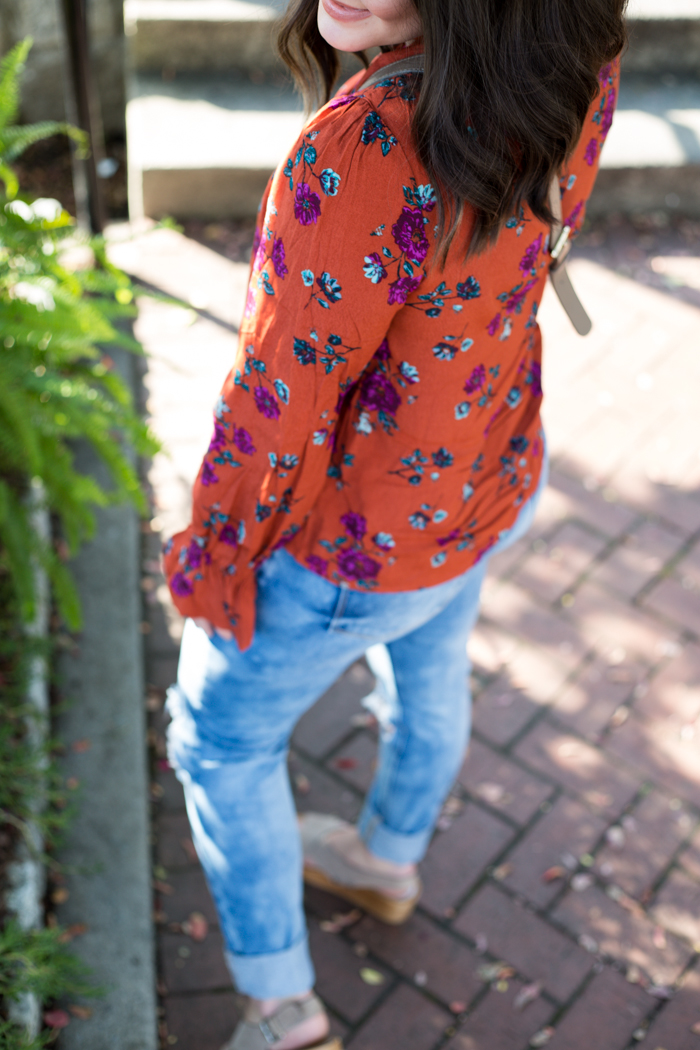 Floral Lace Up Bell Sleeve Blouse - via @maeamor