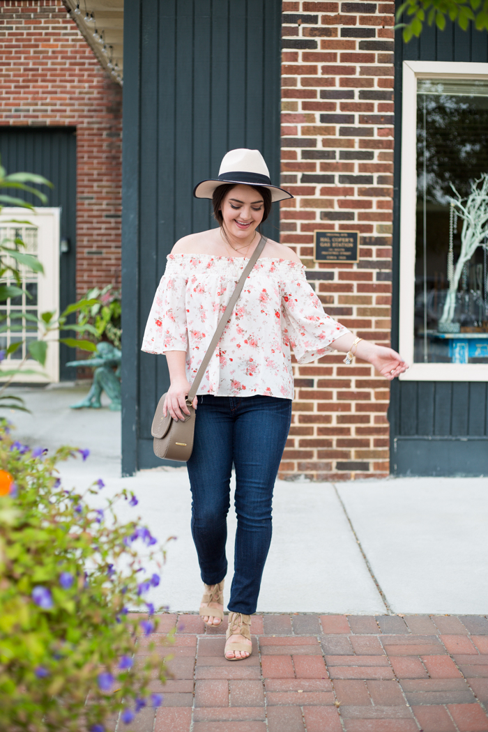 Floral Off the Shoulder Blouse - via @maeamor