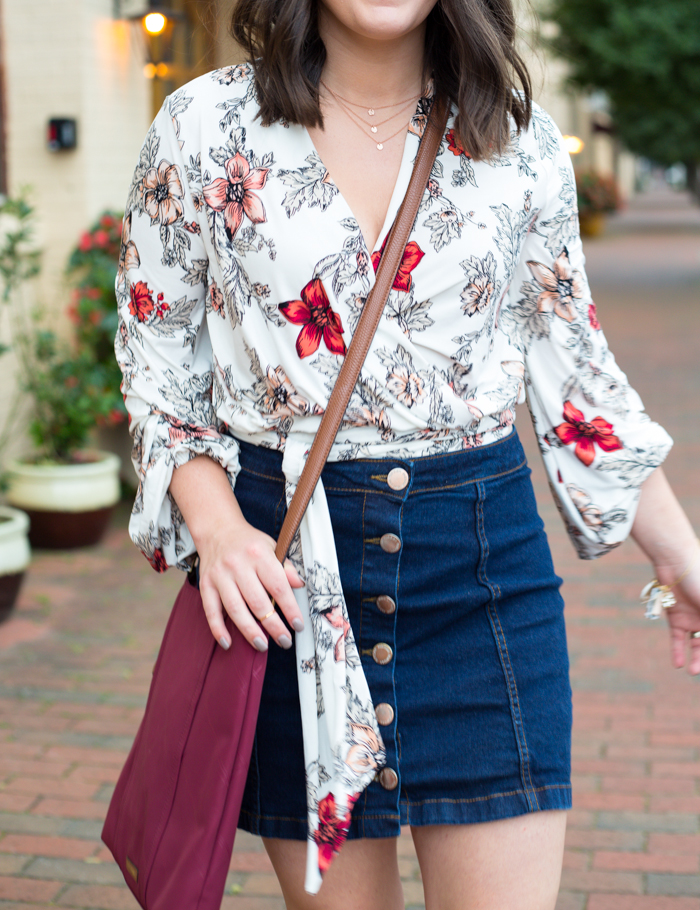 Vera Bradley Preppy Poly Moly Crossbody for lunch date - via @maeamor @verabradley denim button through skirt, bell sleeve wraparound floral blouse, lace up heeled sandals, fall