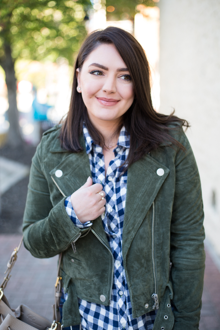 What to Wear for Thanksgiving | DSW Over the Knee Boots - via @maeamor Blank NYC green suede jacket, navy check shirt, Gigi New York Jen Bucket Bag