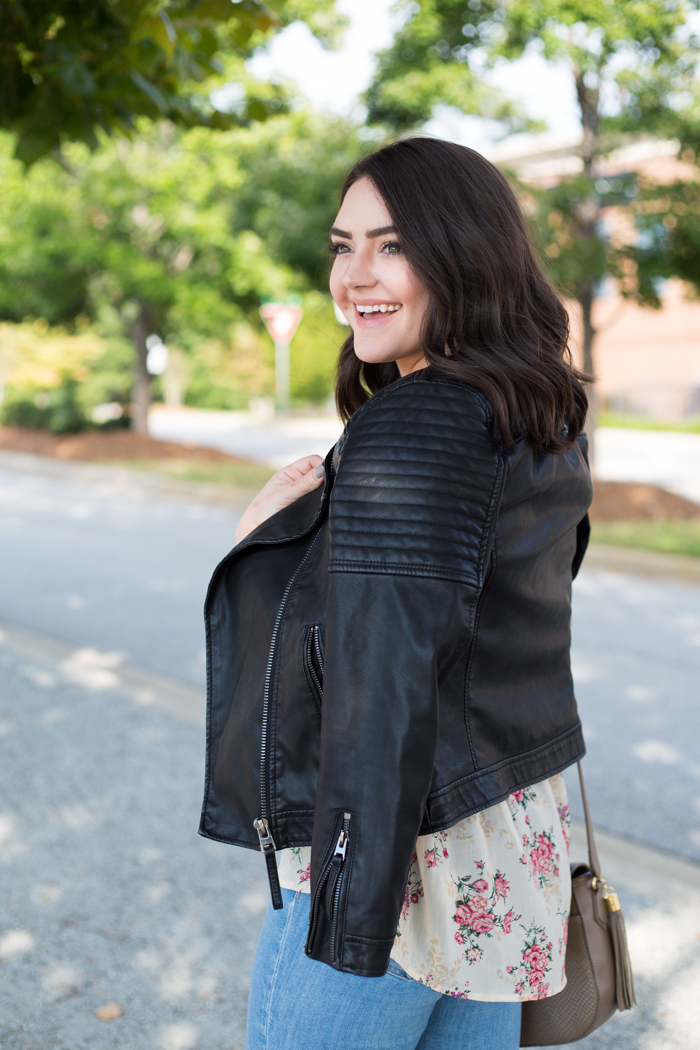How to Wear Florals for Fall: Floral Blouse + Leather Jacket - via @maeamor