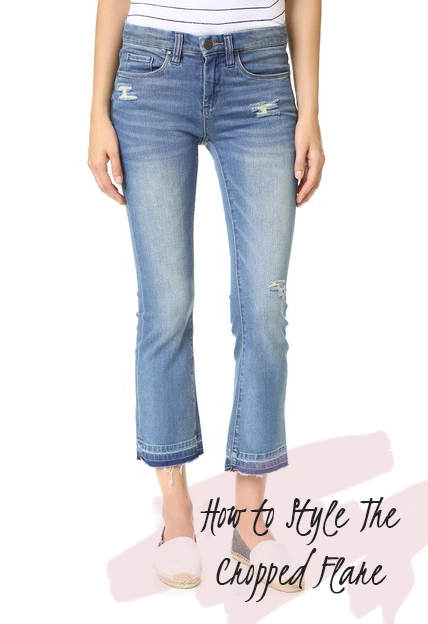 The Season's It Jeans| How to Style the Cropped Flare | How to Wear Raw Hem Jeans