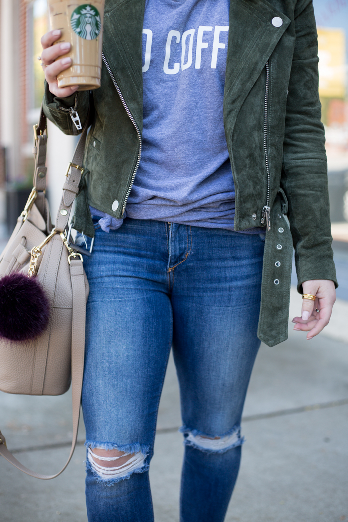 Olive Suede Jacket and Joe's Jeans - via @maeamor