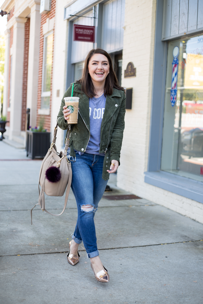 Fall Staples: the Suede Moto Jacket - via @maeamor