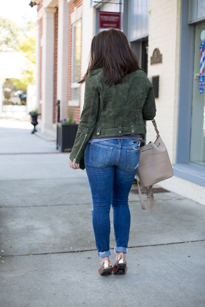 Suede Jacket, Joe's Jeans, Gigi New York Jen Bucket Bag - via @maeamor