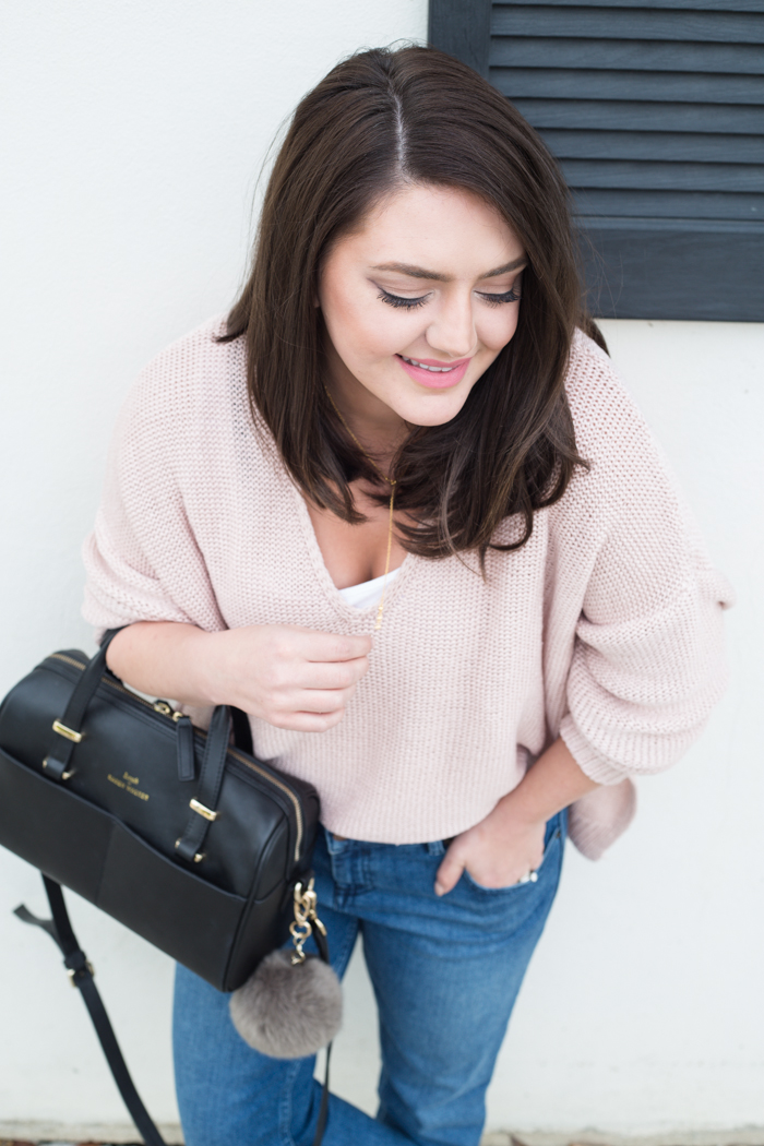 Oversized Knit Sweater in Pink - via @maeamor