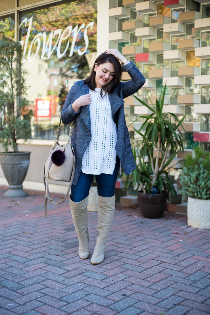 Navy Waterfall Jacket, Over the Knee Boots, Sleeveless Sweater - via @maeamor