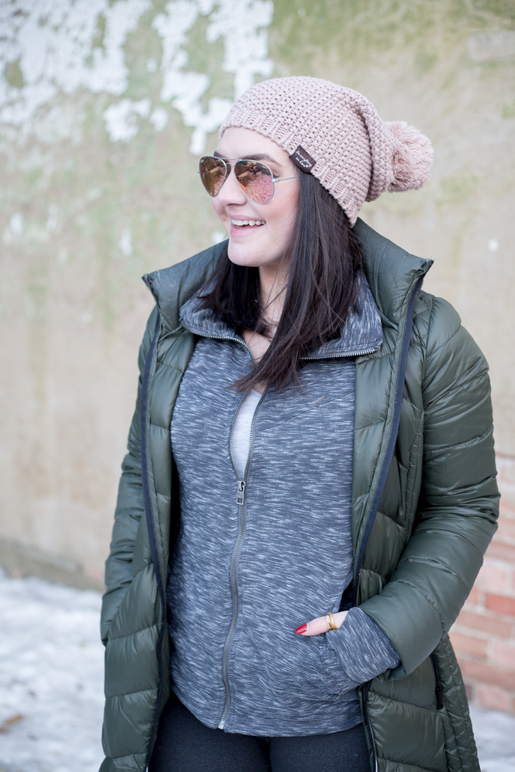 BCBGeneration Missy Long Packable Puffer Coat | Pink Beanie | Fabletics Leggings | Sorel Out N About Boots | GiGi New York Bucket Bag - via @maeamor