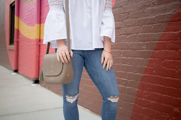 White Crochet Bell Sleeve Top | Topshop Jamie Jeans | GiGi New York Saddle Bag | Faux Suede Flat Mules | Pink Mirror Cateye Sunglasses | Bold Wall Mural | Duluth, GA | @maeamor