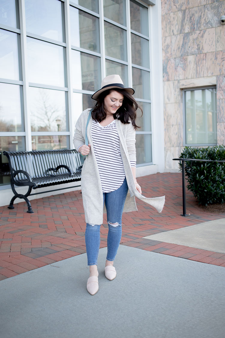 Warm Winter Days | Winter to Spring Transition | Striped tee | Flat Mules | Blue Suede Backpack | Floppy Hat | Topshop Jamie Jeans | Longline Cardigan |via @maeamor