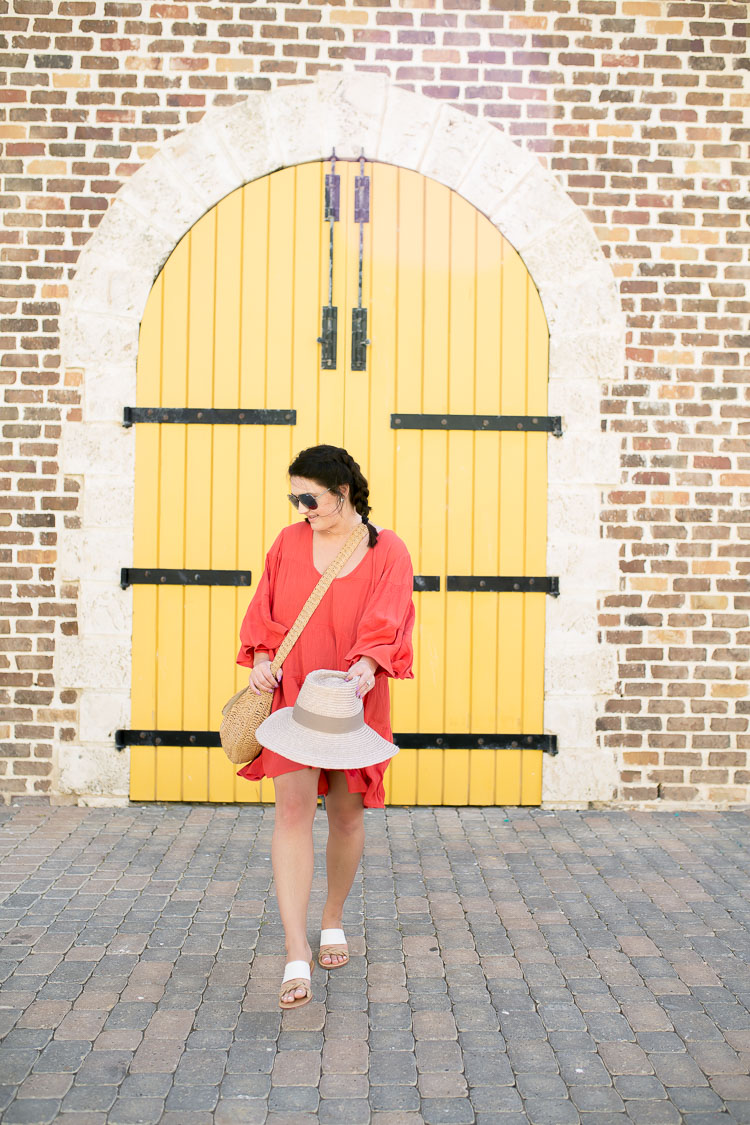 Red Swim Coverup in Jamaica - via @maeamor