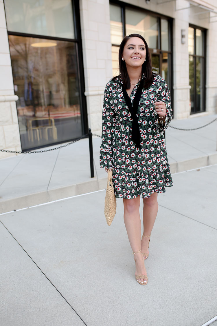 Long Sleeve Floral Print Dress | Cork Heel Sandals | Straw Bag | via @maeamor