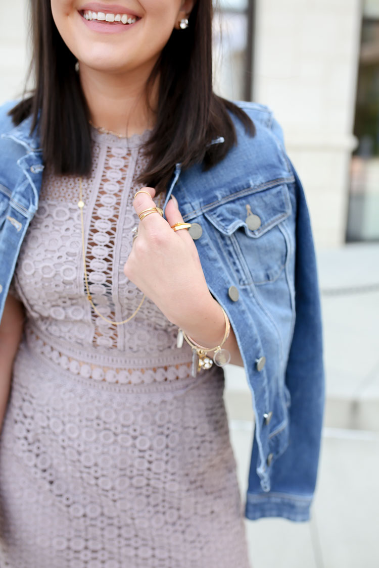 Purple Cutwork Lace Dress | Denim Jacket | via @maeamor