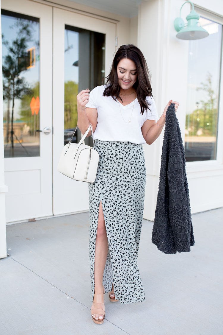 Sage Green Maxi Skirt with Slit | via @maeamor