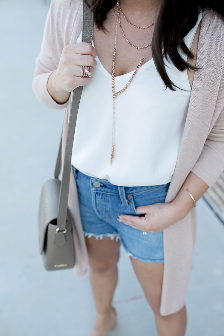 Pink Duster | White Tank | Denim Cutoffs | Cork Heels | Panama Hat | via @maeamor