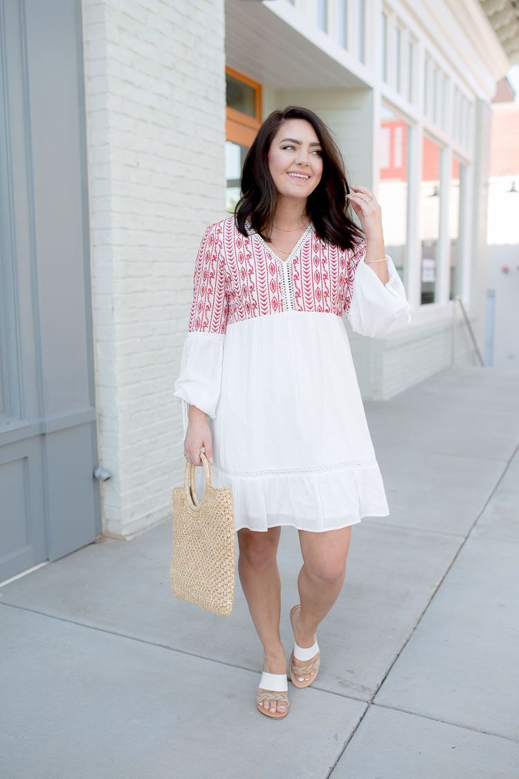 White Dress Red Embroidery | Straw Bag | Soludos Sandals | via @maeamor