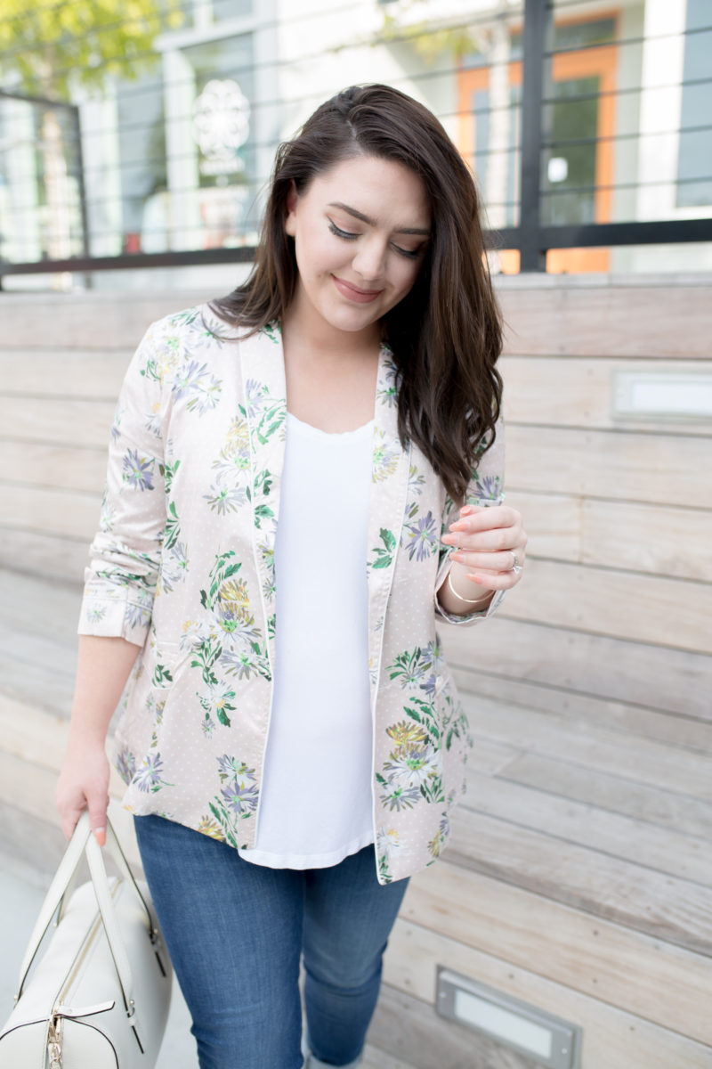 Floral Print Shirt, Best Maternity Jeans Ever, Shopbop Sale Finds - via @maeamor
