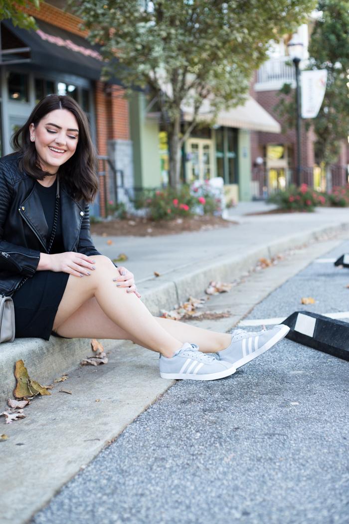 Adidas Sneakers + Bodycon Dress | Mae Amor