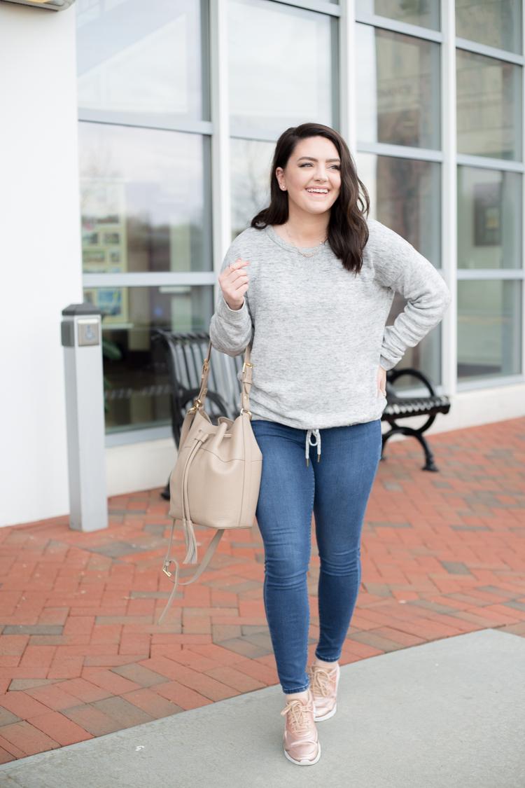 Weekend Wear: Cozy Sweater Rose Gold Nikes   Mae Amor