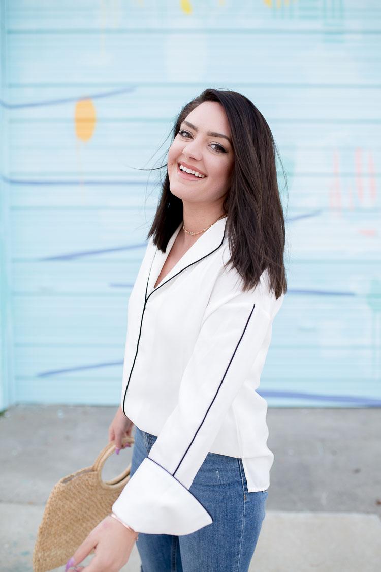 e80ef9e328913a White Pajama Style Top | via @maeamor-8 ...